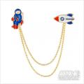 Pin Bross Enamel Roket-Astronot
